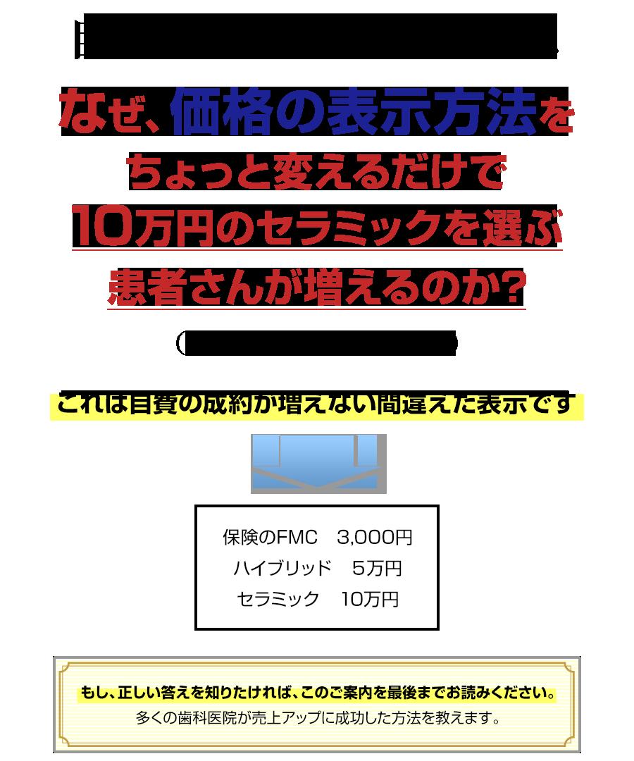 自費売上を増やしたい先生へ。なぜ、価格の表示方法をちょっと変えるだけで10万円のセラミックを選ぶ患者さんが増えるのか?(しかも金額を変えずに…)