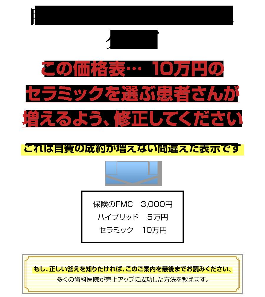自費売上を増やしたい先生へ。クイズこの価格表… 10万円のセラミックを選ぶ患者さんが増えるよう、修正してください(しかも金額を変えずに…)